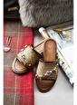 Arma Shoes Kadın El Işlemeli Hasır Ev Terliği Taba